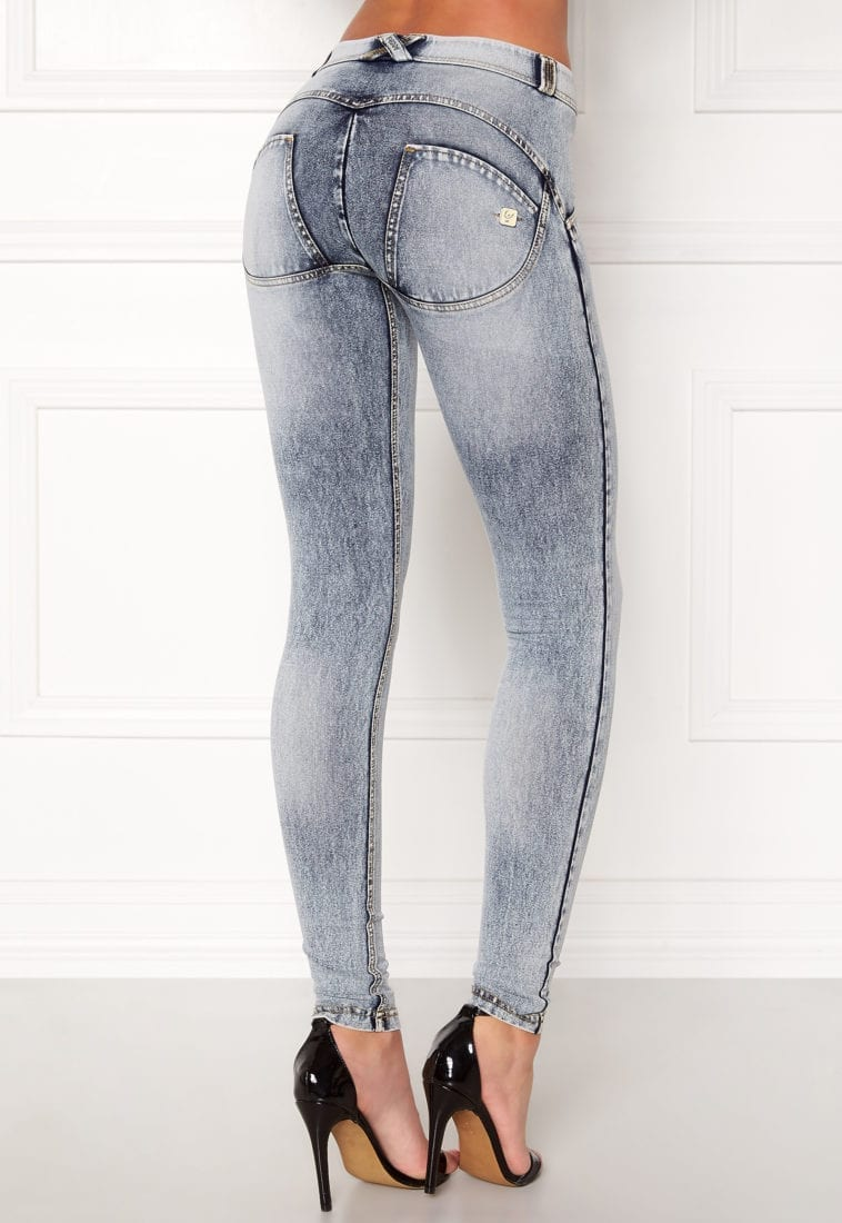 ACID WASHED BLUE LOW WAIST FREDDY WR.UP® SHAPING EFFECT PANTS SKINNY FIT